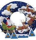 Bucilla Christmas 15\u0022 Round Felt Applique Kit-Over the Rooftop Wreath