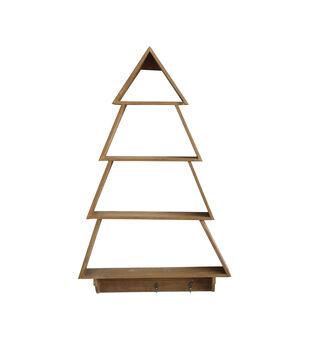 3 Hook Fir Wood Tree Shaped Wall Shelf