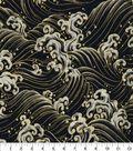 Asian Inspired Cotton Fabric 43\u0022-Rolling Waves Black Metallic