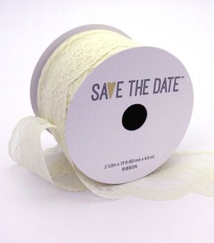 """Save the Date 2.5"""" x 15ft Ribbon-Ivory Lace"""