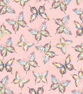 Novelty Cotton Fabrics 44\u0027\u0027-Butterfly on Pink