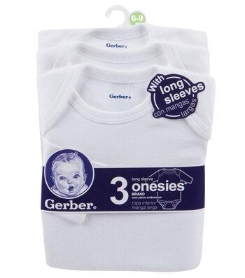 Gerber 3pk Long Sleeve Onesie 6-9M White