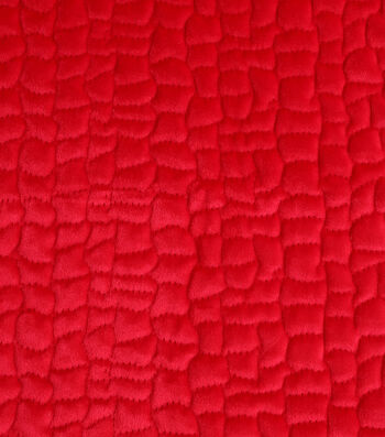 "Cobbled Velvet Fabric 53""-Red"