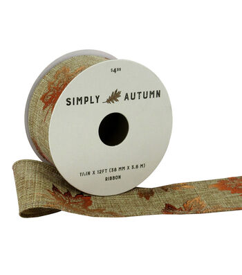 Simply Autumn Ribbon 1.5''x12'-Foil Maple Leaf on Natural