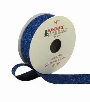 Handmade Holiday Christmas Glitter Ribbon 7/8''x9'-Navy Blue