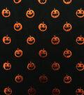 Doodles Halloween Interlock Cotton Fabric 57\u0022-Foiled Pumpkin