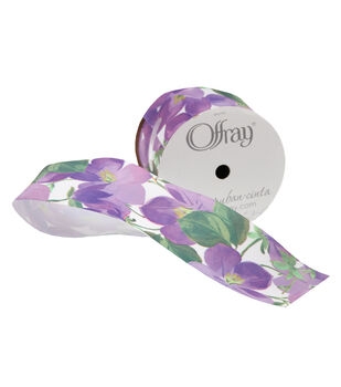 """Offray 2.25""""x9'Vivid Violet Floral Satin Wired Edge Ribbon-Purple"""