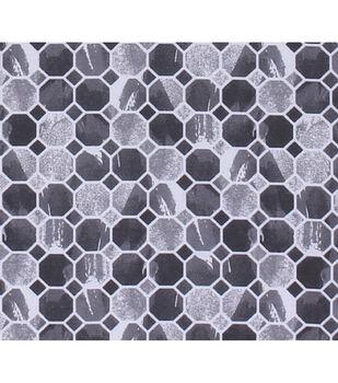 Keepsake Calico Cotton Fabric-Charcoal Mosaic Honeycomb