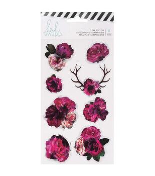 Heidi Swapp Hawthorne 8 pk Clear Stickers-Floral