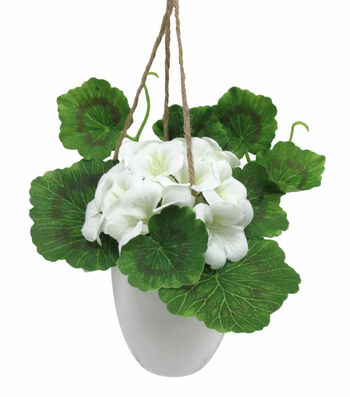 Fresh Picked Spring Small Geranium in Hanging Pot-White