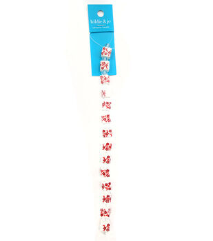 hildie & jo Ceramic Strung Beads-Red Painted Floral