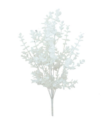 Blooming Holiday Christmas Glitter Eucalyptus Bush-White
