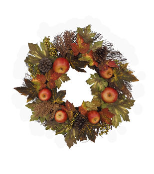 Blooming Autumn Apple, Pinecone & Leaf Wreath