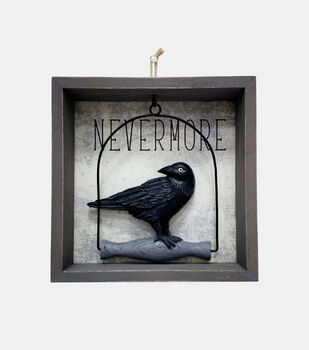 Maker's Halloween Figural Crow Gray Wood Word Block-Nevermore