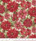 Christmas Cotton Fabric-Poinsettias in Snow