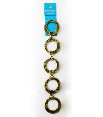 "hildie & jo 7"" Large Metal Etched Circle Antique Gold Strand"