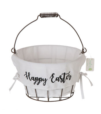Easter Decor Wire Basket with Linen Liner-Happy Easter