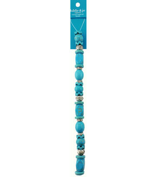 hildie & jo 7'' Multi Shaped Acrylic Strung Beads-Turquoise & Silver