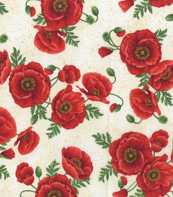 Premium Cotton Fabric-Poppy with Cream Scroll