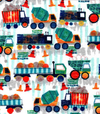 Nursery Flannel Fabric-Construction Trucks in Line