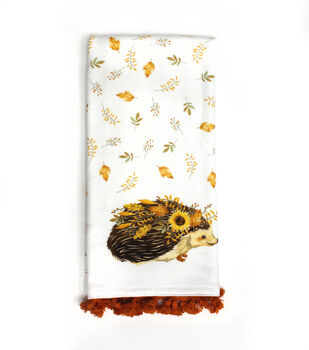 Simply Autumn 16''x26'' Towel with Trim-Hedgehog with Sunflower & Leaves