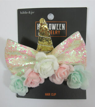 hildie & jo Halloween Unicorn Horn Hair Clip with Pink & Green Flowers
