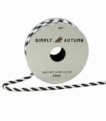 Simply Autumn Twist Cord Ribbon 1/6''x9'-Slate & White