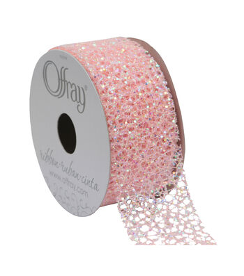 Offray Textured Metallic Ribbon 1.5''x9'-Light Pink
