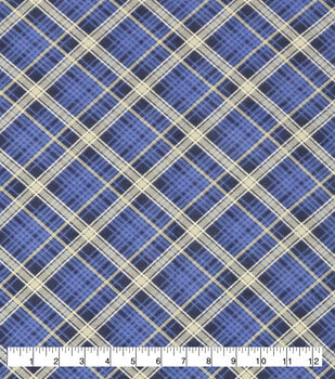 Super Snuggle Flannel Fabric-Kate Blue & Black Plaid