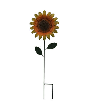 Simply Autumn Small Metal Sunflower Yard Stake