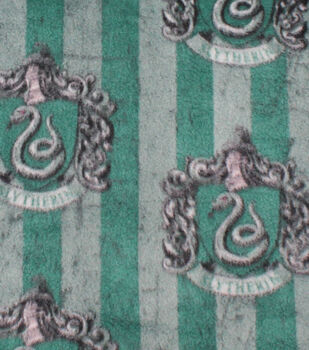 Harry Potter Fleece Fabric 58''-Slytherin Crest on Stripes