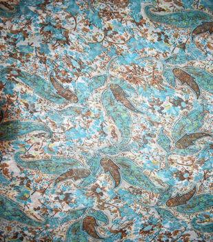 Fast Fashion Yoryu Chiffon Fabric-Tan & Turquoise Paisley