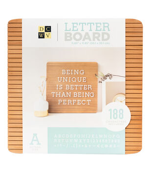 Die Cuts with a View 11.85''x11.85'' Real Wood Letterboard with Letters