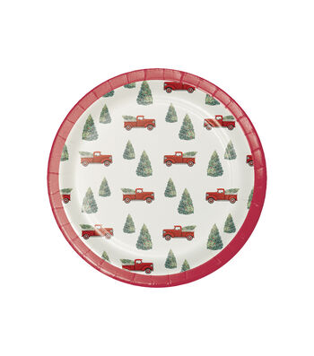 Maker's Holiday 8 pk 7'' Paper Lunch Plates-Christmas Truck