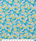 Keepsake Calico Cotton Fabric-Teal Tiny Daisies