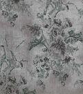 Vintage Cotton Fabric 43\u0022-Floral Birds Gray