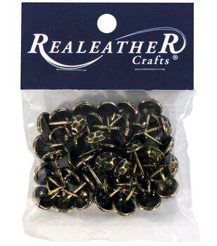 Realeather Crafts 24 pk Hammered Furniture Tacks-Antique Brass