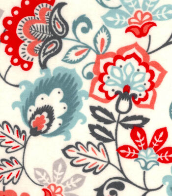 "Snuggle Flannel Fabric 42""-Rust Jacobean Floral"
