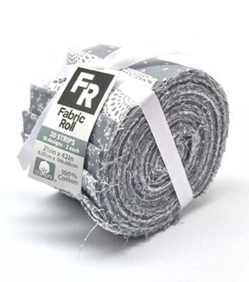 Jelly Roll Cotton Fabric 20 Strips 2.5''-Assorted Gray & White Patterns