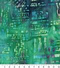 Cotton Batik Apparel Fabric 42\u0022-Navy Green Textured Dots & Dashes