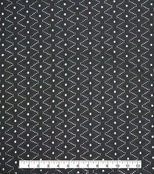 Specialty Cotton Diamond Eyelet Fabric-Black