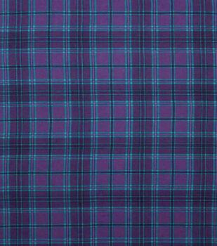 Super Snuggle Flannel Fabric-Purple & Aqua Plaid