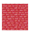 American Crafts Bleach Gift Wrap 30\u0022X10ft-Christmas Word-Gold Foil