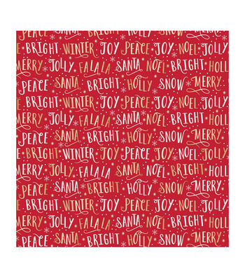 """American Crafts Bleach Gift Wrap 30""""X10ft-Christmas Word-Gold Foil"""