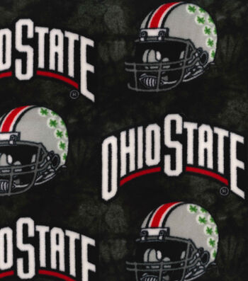Ohio State Buckeyes Fleece Fabric -Helmets on Black