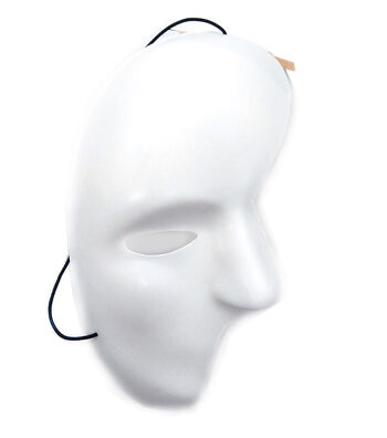 "Mask-It Half Face 4.5""x8.25"" (11.4 x 21 cm) White with black elastic cord, FREE Color Instruction Sheet, 1 piece"