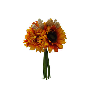 Blooming Autumn Sunflower, Mum & Berry Bouquet-Yellow