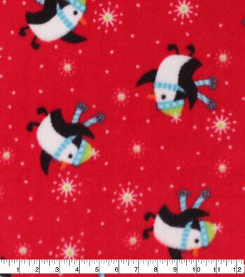 Anti-Pill Plush Fleece Fabric-Penguins On Red Holiday