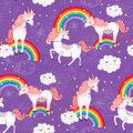 Novelty Cotton Fabric-Unicorn Dreams Purple
