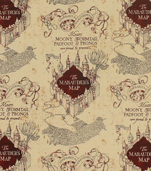 Harry Potter Knit Fabric 58''-Marauders Map